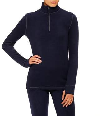 Cuddl Duds ClimateRight by Stretch Fleece Long Sleeve Mock Neck Half Zip Sleepwear Top