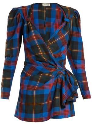 Tartan Wrap Mini Dress - Womens - Multi