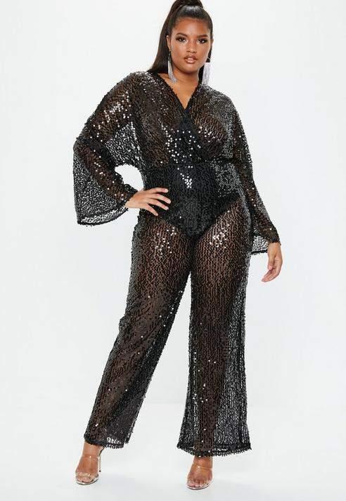 Plus Size Black Sequin Plunge Flared Jumpsuit, White