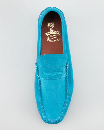 Florsheim by Duckie Brown Suede Penny Loafer, Turquoise