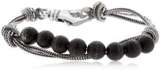 Emanuele Bicocchi Onyx & Silver Chain Bracelet
