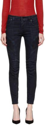 Pierre Balmain Blue Ribbed Biker Jeans