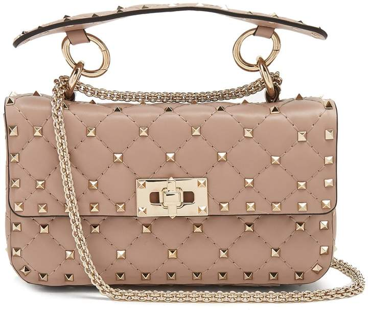 VALENTINO Rockstud Spike small quilted-leather shoulder bag