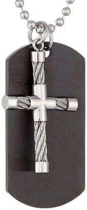 FINE JEWELRY Mens Stainless Steel and Black IP Dog Tag and Moveable Cross Pendant
