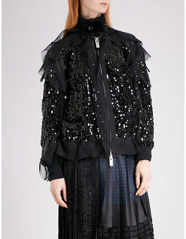 Ruffled sequin bomber jacket