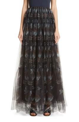 Brunello Cucinelli Floral Print Tulle Maxi Skirt