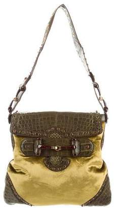 Gucci Crocodile & Velvet Runway Flap Bag