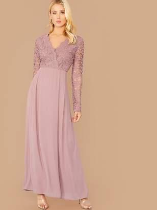 Shein Guipure Lace Bodice Boxy Pleated Dress