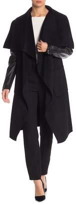 BCBGMAXAZRIA Fiona Long Wool Blend Leather Sleeve Coat
