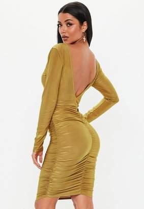 Missguided Khaki Slinky Ruched Midi Dress