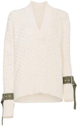 Sacai V-neck knitted strap cuff jumper