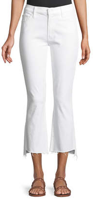 Mother Insider Cropp Step Fray Distressed Jeans, White