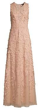 BCBGMAXAZRIA Women's Tulle Floral Embroidered Sleeveless Gown