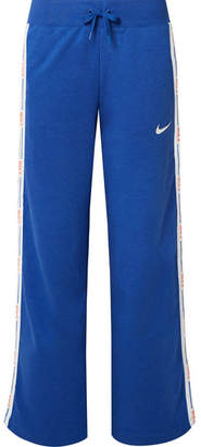 Nike Hypercool Striped Cotton-blend Jersey Track Pants - Blue