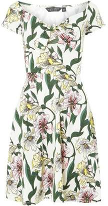 Dorothy Perkins Womens Ivory Floral Mini Skater Dress