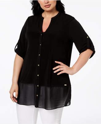 Calvin Klein Plus Size Chiffon-Hem Tunic Shirt