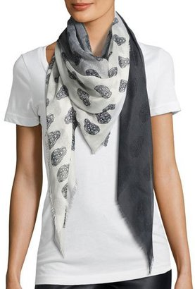 Zadig & Voltaire Kelly Skull Faded Ombré Scarf, Noir $198 thestylecure.com