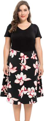 Chicwe Women's Floral Print Vintage Style Plus Size Party Dress 2X