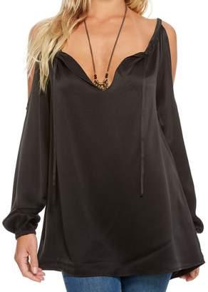 Chaser Women's Silk Charmeuse Long Sleeve Blouse - Black