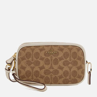 Coach Women's Colorblock Signature Cross Body Clutch Bag - Tan Chalk