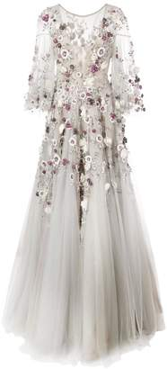 Marchesa embroidered floral flared gown