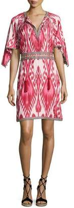 Talitha Collection Ikat Handkerchief-Sleeve Dress, Pink