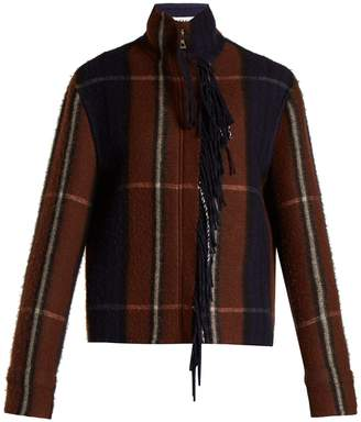 Checked Wool And Cashmere Blend Jacket - Womens - Navy Multi