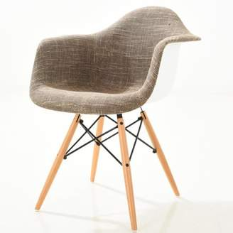 Poly and Bark Vortex Padded Arm Chair with Natural Base in Taupe