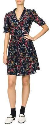 The Kooples Blue Bird Floral & Avian Print Dress