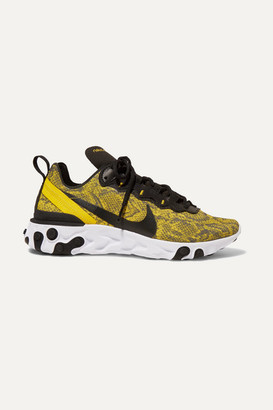 Nike React Element 55 Snake-print Mesh, Faux Leather And Felt Sneakers - Bright yellow