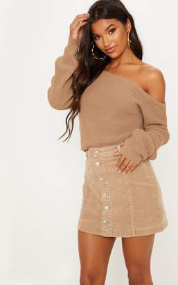 PrettyLittleThing Taupe Off The Shoulder Knitted Crop Jumper