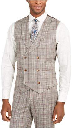 Tallia Men Slim-Fit Brown Plaid Flannel Double-Breasted Suit Vest