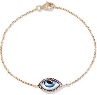 Lito - Tu Es Partout 14-karat Gold, Enamel And Multi-stone Bracelet