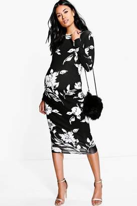 boohoo Maternity Mollie Mono Print Long Sleeve Midi Dress
