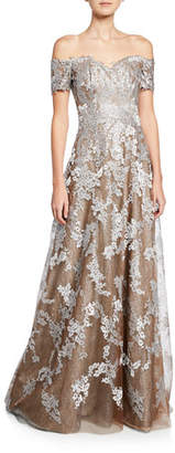 Rene Ruiz Collection Off-the-Shoulder Sweetheart Short-Sleeve Metallic Lace Gown