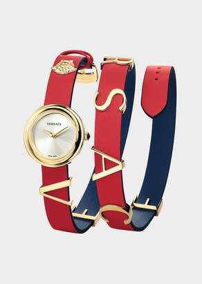 Versace Red Leather V-Flare Watch