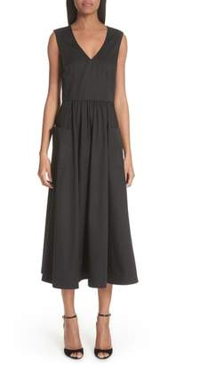 Co Patch Pocket Sateen Midi Dress