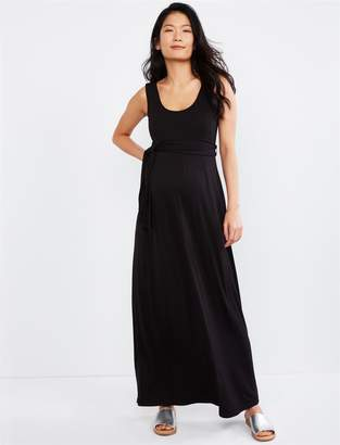 c66aaf016f22c A Pea in the Pod Tie Front Sleeveless Maxi Maternity Dress