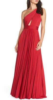 Jill Stuart One-Shoulder Pleat Gown