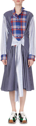Loewe Long-Sleeve Tie-Waist Check & Stripe Combo Shirtdress