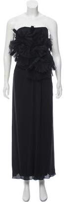 J. Mendel Silk Pleat-Accented Evening Dress