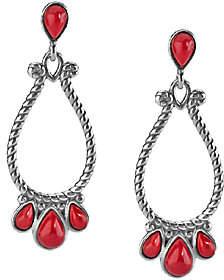American West Sterling Red Coral Medium Pear Sh aped Earrings