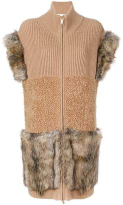 Stella McCartney Fur Free Fur-trimmed knit vest