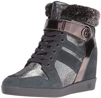 Armani Jeans Women's Faux Fur Sneaker Wedge Fashion