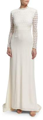 Self-Portrait Eva Long-Sleeve Open-Back Combo Gown, Off White