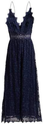 Zimmermann Castile Antique Lace Trimmed Silk Jumpsuit - Womens - Navy