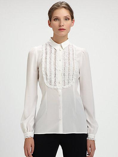 Dolce & Gabbana Lace-Trimmed Bib Blouse
