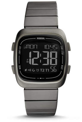 Fossil Rutherford Digital Gray Stainless Steel Watch