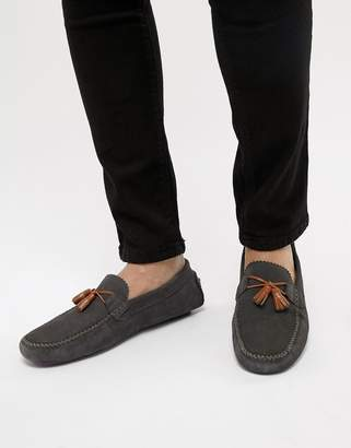 Ted Baker Urbonns Suede Drivers In Grey