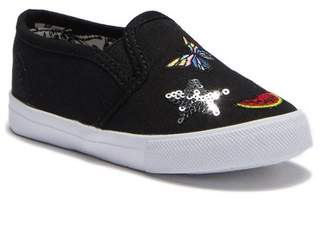 Nicole Miller Embroidered Patches Slip-On Sneaker (Toddler)